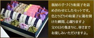 翁屋の手づくり和菓子を詰め合わせにしたセットです。